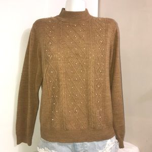Tradition Camel Beaded Quilted Mock Neck Sweater